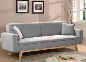 Sofá cama gris con sistema de apertura clic clac
