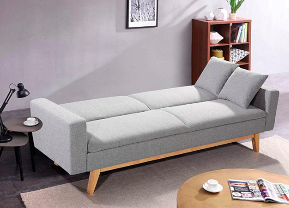Sofá cama en color gris abierto